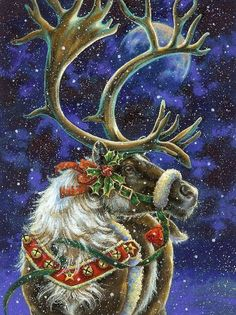 """Photo from album """"Unreassembled in the Donna Race Illustration"""" on Yandex.Disk - NATALI – """"Donna Race Illustrations"""" on Yandex. Christmas Scenes, Christmas Animals, Noel Christmas, Vintage Christmas Cards, Christmas Pictures, Winter Christmas, Reindeer Christmas, Father Christmas, Christmas Greetings"""