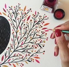 having so much fun painting this leaves with this awesome inks / pintando hojitas otoñales con estas increíbles tintas compradas en mi paraíso personal Watercolor And Ink, Watercolour Painting, Painting & Drawing, Watercolors, Drawing Poses, Guache, Fabric Painting, Doodle Art, Art Projects
