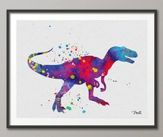 fun Dinosaur Art Print Watercolor Painting Art Print - on Etsy, $25.00