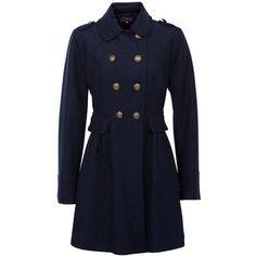 Navy Wool Skirted Military Coat