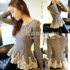 Stella free shipping N2 13 2013 autumn new arrival vintage crochet lace small woolen skirt slim female autumn sweater-inPullovers from Appar...