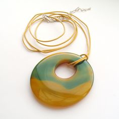Yellow and Green Stone Necklace by TemporalFlux on Etsy
