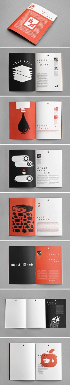 Beautiful minimalist layouts for Bauerdruck print shop. Alexandra Turban