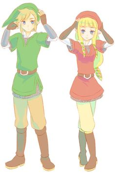Link and Zelda in their Knight uniforms.