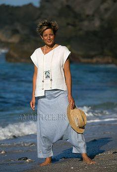 Harem AZUL lino azul cambray en cintura elástica suave en la parte posterior