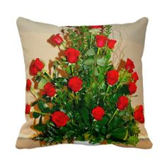 Two Dozen Roses Throw Pillows