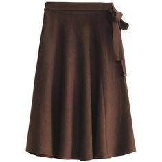 Coffee Bow Tie Knitted Skater Midi Skirt ($52) ❤ liked on Polyvore featuring skirts, skater skirt, mid-calf skirt, calf length skirts, midi skirt and knee length skater skirt