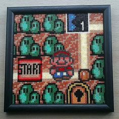 Super Mario Bros. 3 World Map Framed Picture. 3844 mini Hama beads. 6 inch x 6 inch by  pixelbeadpictures