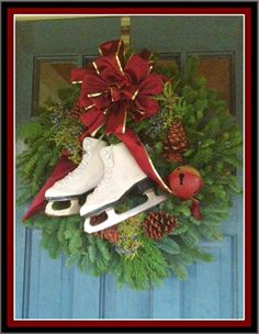 front door wreath... for my figure skating sister and brother in law