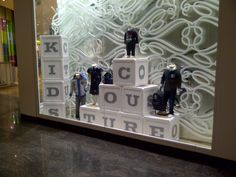 Oversized building blocks draw attention to this display. We sell all types of children's mannequins at MannequinMadness.com