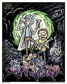Rick & Morty poster illustration 'Rickor Mortis' by Brad Albright, www.AlbrightIllustration.com
