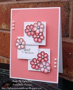 sweet handmade card ... rose pinks ... pearls and piercing ... flowers and sqaures ...