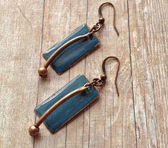 Dusty+Blue+Earrings+/+Enameled+Earrings+/+Boho+Blue+by+Lammergeier,+$30.00