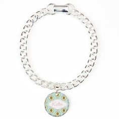 Personalize it! Petals Lace Sky Bracelet - Personalize this Fun retro vintage floral design on light blue background www.cafepress.com/drapestudio see coordinating products with this design in our other shops www.zazzle.com/drapestudio and www.society6.com/drapestudio