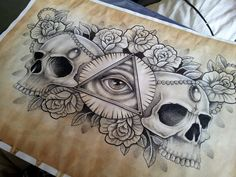 Illuminati and Skull chest piece tattoo design by kirstynoelledavies.deviantart.com on @deviantART