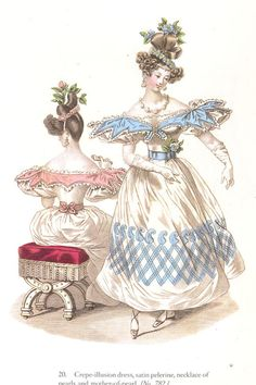 1830s fashions. The sleeves in this fashion plate were probably exaggerated for effect, although sleeves did reach ridiculous proportions in the 1830s.