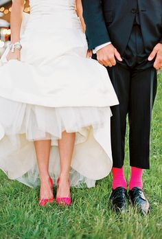 The pair had fun showing off her pink Christian Louboutin shoes and his pink Ralph Lauren socks.