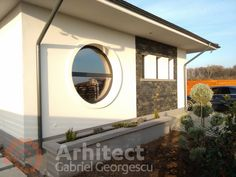 Proiect 39 | Casa parter | Otopeni | Proiecte de case personalizate | Arhitect Gabriel Georgescu & Echipa Design Case, Entrance, Arch, Outdoor Structures, Mirror, Garden, House, Home Decor, Houses