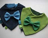 Items similar to Baby bib set boy, twins baby bibs removable bow tie , nice baby shower, baptism / christening gift on Etsy