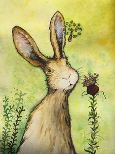Original Watercolour painting The hare in summer by Nancy Antoni 3d effect wildlife 24k gold by NancyAntoniArt on Etsy https://www.etsy.com/uk/listing/499095250/original-watercolour-painting-the-hare