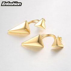 Enfashion Double Triangle Earrings Stud Earring Rose Gold Plated Ear Jacket Earings Stainless Steel Earrings For Women Jewelry-in Stud Earrings from Jewelry & Accessories on Aliexpress.com | Alibaba Group