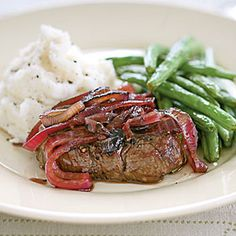 Tenderloin Steaks with Red Onion Marmalade | MyRecipes.com #myplate #protein #vegetables