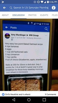 Workout Schedule For Weight Loss - Weight watchers recipes - Kalorienarme Rezepte Weight Watchers Breakfast, Weight Watchers Diet, Weight Watchers Desserts, Weigh Watchers, Baked Oatmeal Recipes, Yummy Oatmeal, Oatmeal Muffins, Ww Desserts, Recipe For 4