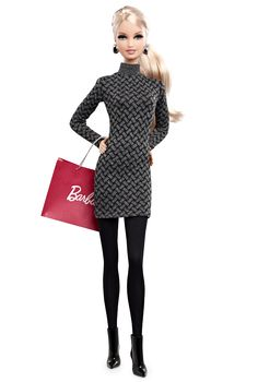 The Barbie Look Collection City Shopper Barbie Doll (Blonde Ponytail - wearing black dress/tights/boots) - Fashion Dolls | Barbie Collector