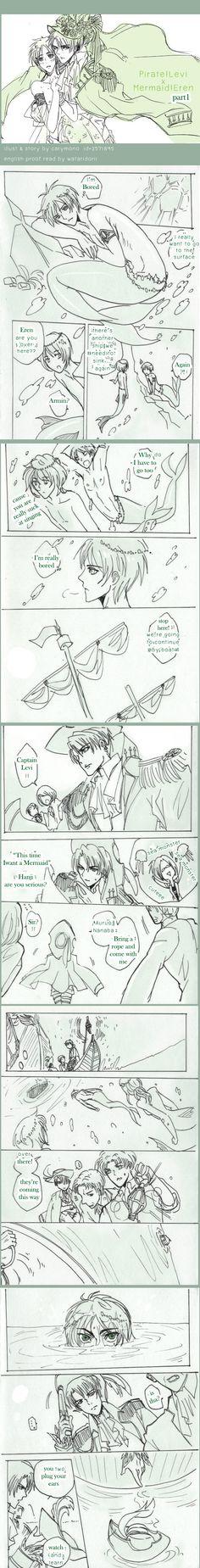 SnK'AU : Pirate!Levi x Mermaid!Eren part1 by illuscarymono.deviantart.com on @deviantART