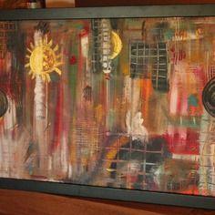 Tableau abstrait, moderne, déco acrylique - toile lin châssis  - 65 x 43 cms cadre noir -