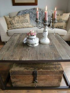 love the rustic table and trunk