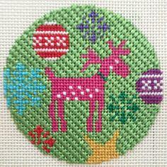 """Rudolf Christmas Round needlepoint ornament by Kirk & Bradley Style: KH282 Size: 4"""" Mesh: 13"""