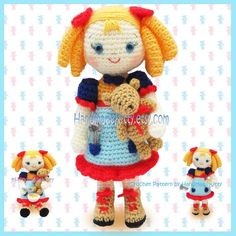 Goldilocks and the Three Little Bears Amigurumi por handmadekitty, $5.99