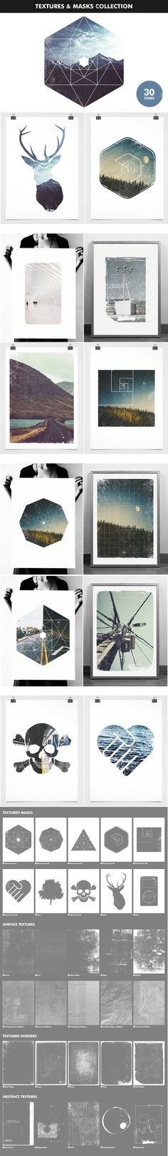 Textures and Image Masks Collection Modern Creative Design Bundle