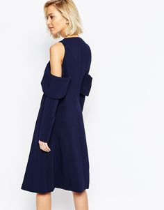 Image 2 ofLavish Alice Collarless Cape Coat with Cold Shoulder
