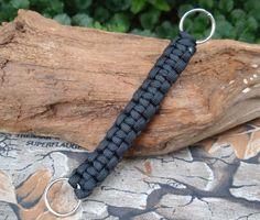 Paracord Lanyard Keychain  Black  Cobra Weave   by ACORDING2MACEY