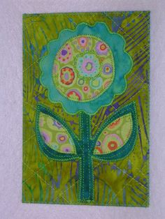Flower -Happy Flower- Whimsical Quilted Appliqued Fabric Postcard