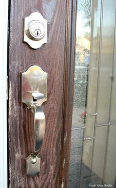 The BEFORE - See How To Stain your Front Door the Easy Way    Fresh Idea Studio