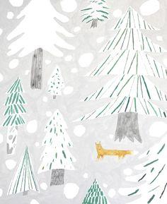 イラストレーター芦野公平のサイト Winter Illustration, Forest Illustration, Christmas Illustration, Cute Illustration, Botanical Illustration, Watercolor Illustration, Painting & Drawing, Fox Painting, Tree Story