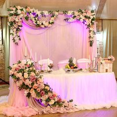 Isn't this a lovely Head Table Display asks Sherwood Event Hall! Wedding Reception Backdrop, Wedding Entrance, Wedding Mandap, Quinceanera Decorations, Backdrop Decorations, Wedding Table Decorations, Bride Groom Table, Wedding Background, Gold Wedding Colors