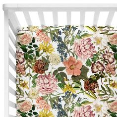 Brinley's Illustrated Botanical Floral Crib Sheet
