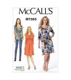McCall's Knit Dress and Top pattern by Nancy Zieman Nancy Zieman, Clothing Patterns, Dress Patterns, Coat Patterns, Knitting Patterns, Sewing With Nancy, Sewing Hacks, Sewing Tips, Sewing Projects