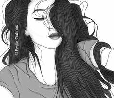 girl drawing black and white Tumblr Girl Drawing, Tumblr Sketches, Tumblr Drawings, Tumblr Art, Tumblr Girls, Art Sketches, Outline Drawings, Cool Drawings, Outline Art