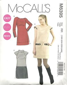 McCall's 6395 semi-fitted dress through bust and hip, loose-fitting waist, self-lined sleeves. For stretch knits, double knits. Contrast in suede, leather. Sizes 18W-24W. About 3 yds for 24 with long sleeves. Contrast 1 yd. Bought in McCall's out-of-print sale for $ 1.99. 2011.
