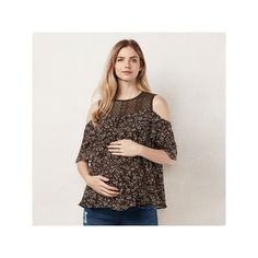 Maternity LC Lauren Conrad Floral Cold-Shoulder Top, Women's, Size: Xxl-Mat, Dark Green