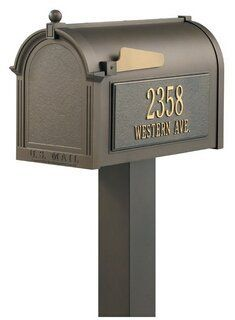 Personalized Premium Mailbox and Post Package by Brookstone. $420.00. Color: Bronze. Includes Mailbox, 2 personalized sides, and standard post. Transportable! Can easily be relocated and re-personalized. All components are manufactured from die cast rust free aluminum. 20% Larger than Most Premium Mailboxes. Mailbox: 9.625 L x 13 W x 20.375 H inches Post: 4 L x 4 W x 40 H inches Material: Rust free aluminum Premium Package includes Mailbox