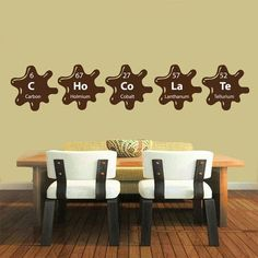 Chemical Elements Kitchen Cafe Bar Home Decor Vinyl Art Wall Decor Nursery Room Decor Sticker Decal size 22x35 Color Brown
