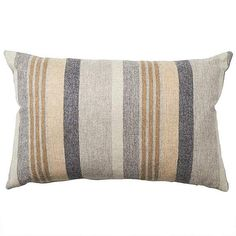 Patterned with striped designs in shades of ochre yellow and grey, this rectangular cushion features a wool face and a durable cotton reverse and has a removable cover. Striped Cushions, H & M Home, Attic Rooms, Yellow Stripes, Stripes Design, Soft Furnishings, Throw Pillows, Wool, Pattern