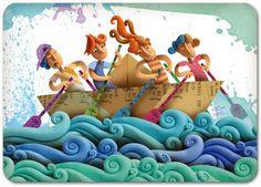 adolescentes remando en un barco