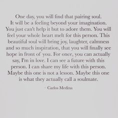Carlos Medina quote #words #soulmate #soul